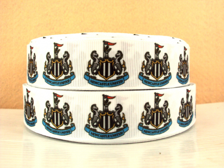 1 METRE OF NEWCASTLE UNITED FOOTBALL CLUB RIBBON SIZE 7/8s HEADBANDS BOWS HAIR CLIPS
